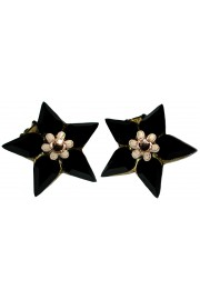 Michal Negrin Black Star Clip Earrings
