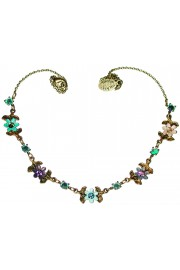 Michal Negrin Purple Aqua Green Peach Daisy Chain Necklace
