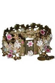 Michal Negrin Pink White Crochet Bracelet