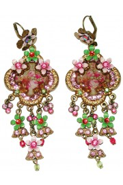 Michal Negrin Pink Green Lilac Floral Cameo Earrings