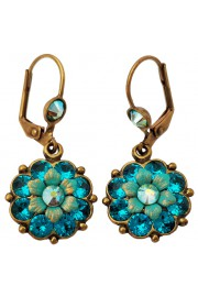 Michal Negrin Turquoise Green Crystal Flower Earrings