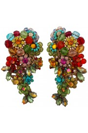 Michal Negrin Multicolor Lace Clip Earrings