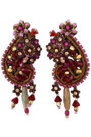 Michal Negrin Fuchsia Gold Lace Clip Earrings