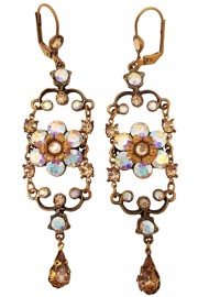 Michal Negrin Aurora Borealis Gold Iconic Chandelier Earrings
