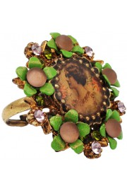 Michal Negrin Woman Cameo Flowers Ring