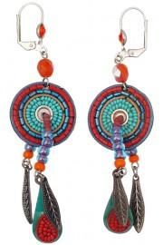 Adaya Turquoise Red Maasai Feathers Earrings