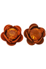 Michal Negrin Tangerine Rose Crystal Stud Earrings