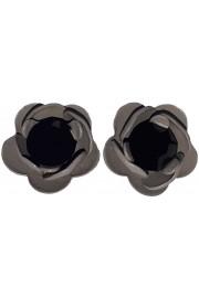 Michal Negrin Black Grey Rose Stud Earrings