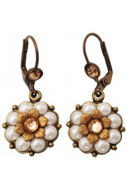 Michal Negrin Pearl Peach Crystals Flower Earrings