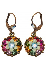 Michal Negrin Multicolor Crystals Flower Earrings