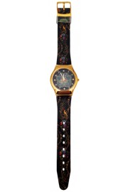 Michal Negrin Black Flowers Wrist Watch