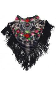 Michal Negrin Black Roses Velvet Collar Scarf