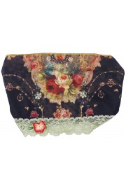 Michal Negrin Black Roses Print Satin Lace Headband