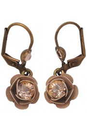 Michal Negrin Nude Tone Rose Earrings