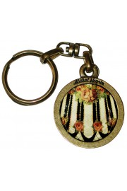 Michal Negrin Striped Roses Round Keychain