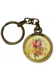 Michal Negrin Victorian Roses Round Keychain