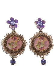Michal Negrin Purple Lace Cameo Earrings