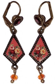 Michal Negrin Miniature Roses Cameo Earrings