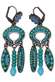 Adaya Turquoise Beaded Mosaic Earrings