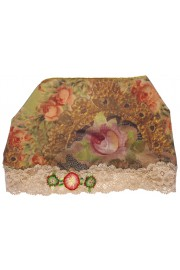 Michal Negrin Baroque Roses Print Satin Lace Headband