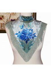 Michal Negrin Blue Roses Velvet Collar Scarf