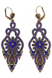 Michal Negrin Purple Crystals Deco Earrings