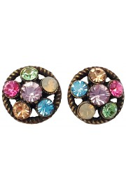 Michal Negrin Multicolor Crystals Round Stud Earrings
