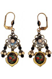 Michal Negrin Black Grey Rose Cameo Earrings