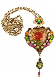 Michal Negrin Multicolor Rose Heart Pendant Necklace