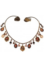 Michal Negrin Black Roses Angels Cameos Necklace
