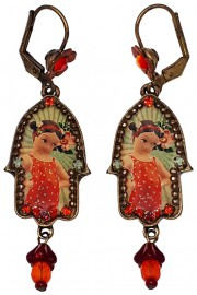 Michal Negrin Retro Hamsa Earrings