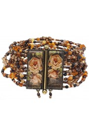 Michal Negrin Brown Beaded Roses Bracelet