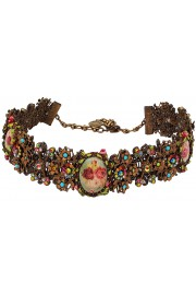 Michal Negrin Multicolor Cameos Lace Choker Necklace