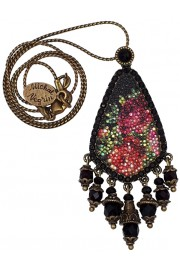 Michal Negrin Black Grainy Roses Necklace