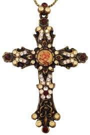 Michal Negrin Peach Garnet Cross Necklace