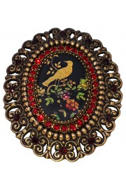 Michal Negrin Bird Cameo Red Crystals Brooch