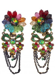Michal Negrin Multicolor Crystal Flower Clip Earrings