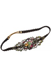 Michal Negrin Multicolor Crystal Flower Lace Headband