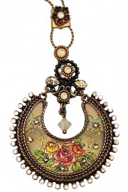 Michal Negrin Roses Crescent Necklace