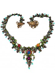 Michal Negrin Multicolor Floral Lace Necklace