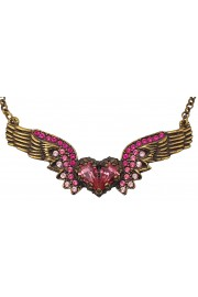 Michal Negrin Pink Winged Heart Necklace