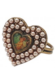 Michal Negrin Pearl Heart Cameo Ring