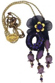 Michal Negrin Black Purple Lace Pendant Necklace