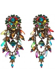 Michal Negrin Multicolor Crystal Beads Clip On Earrings