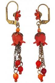 Michal Negrin Red Orange Lily Bells Earrings