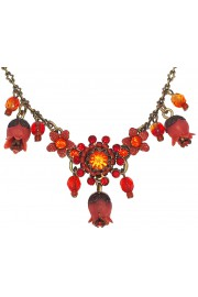 Michal Negrin Red Orange Bells Necklace