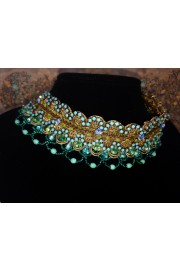 Michal Negrin Turquoise Beaded Lace Choker Necklace