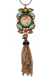Michal Negrin Cherub Cameo Tassel Necklace