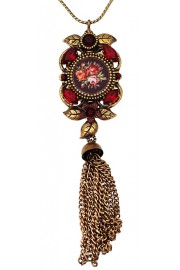 Michal Negrin Red Roses Cameo Tassel Necklace