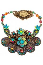 Michal Negrin Multicolor Floral Fan Necklace